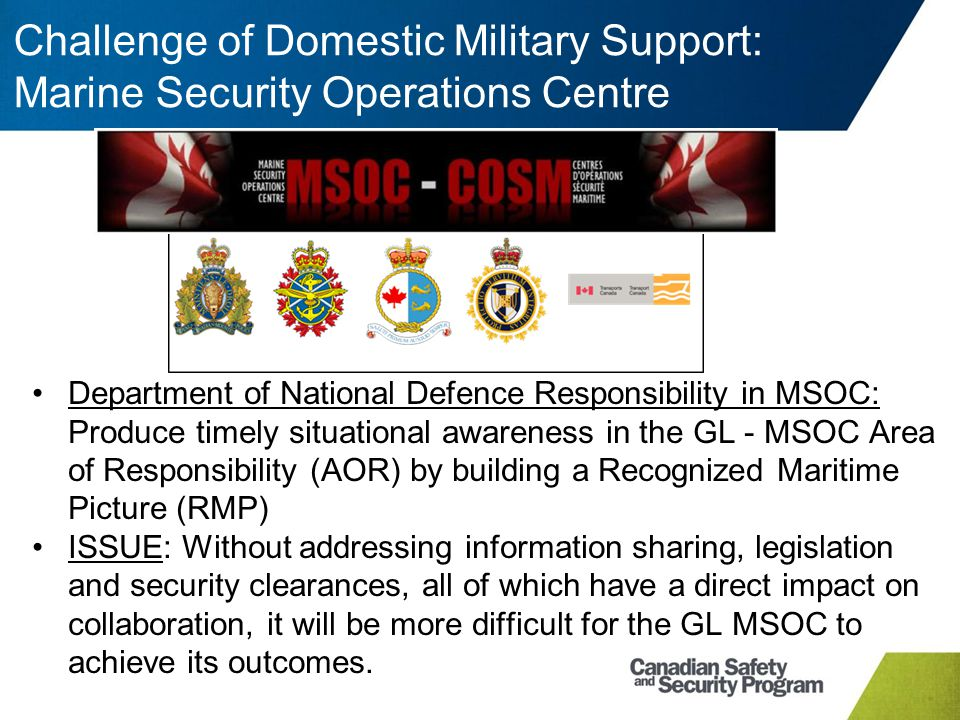 Challenge of Domestic Military Support: Marine Security Operations Centre Department of National Defence Responsibility in MSOC: Produce timely situat