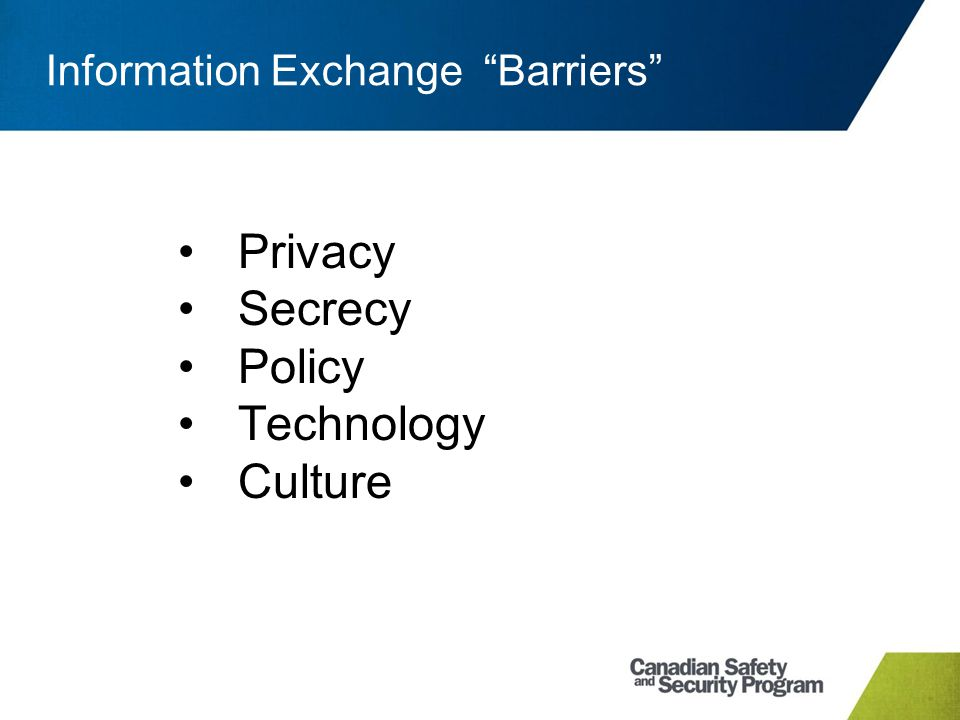 "Information Exchange ""Barriers"" Privacy Secrecy Policy Technology Culture"