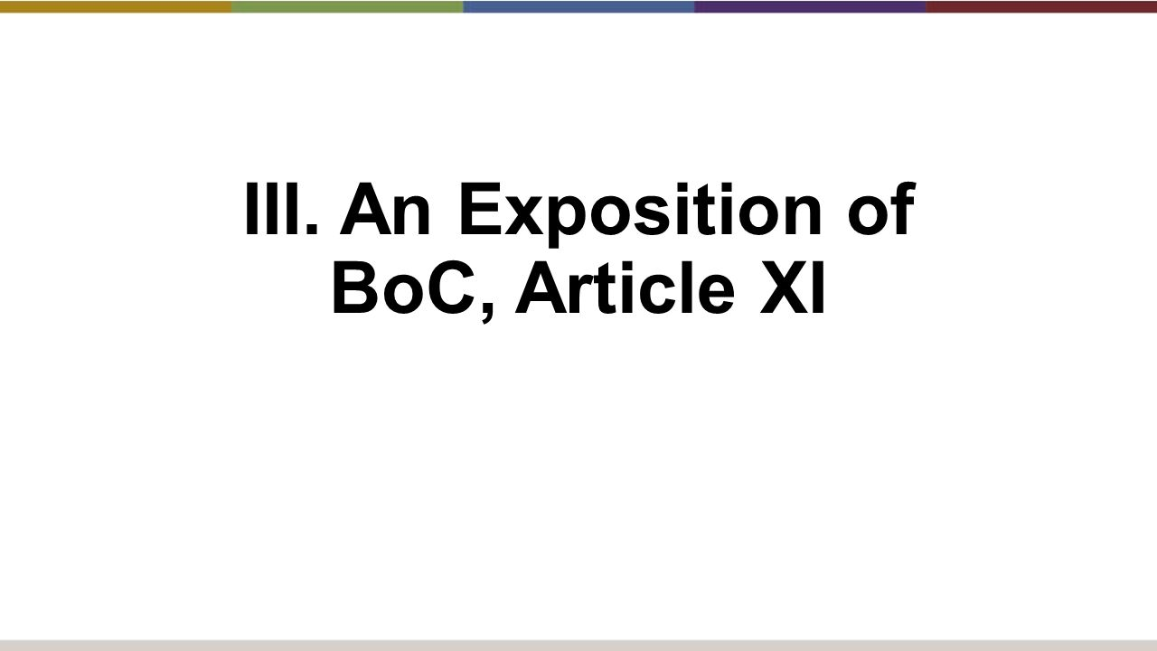 III. An Exposition of BoC, Article XI