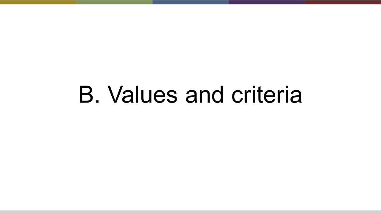 B. Values and criteria