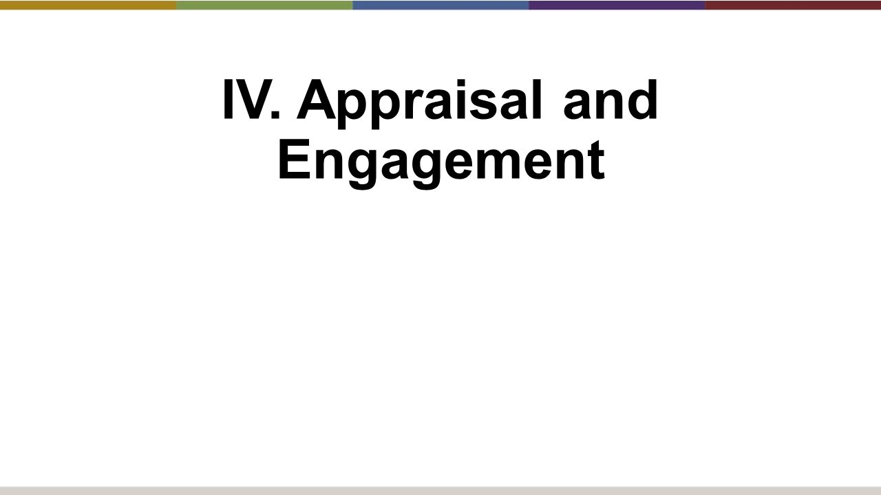 IV. Appraisal and Engagement