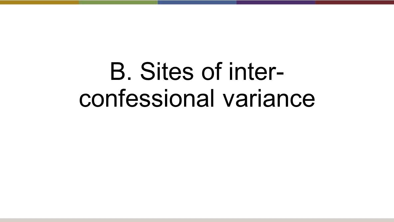 B. Sites of inter- confessional variance