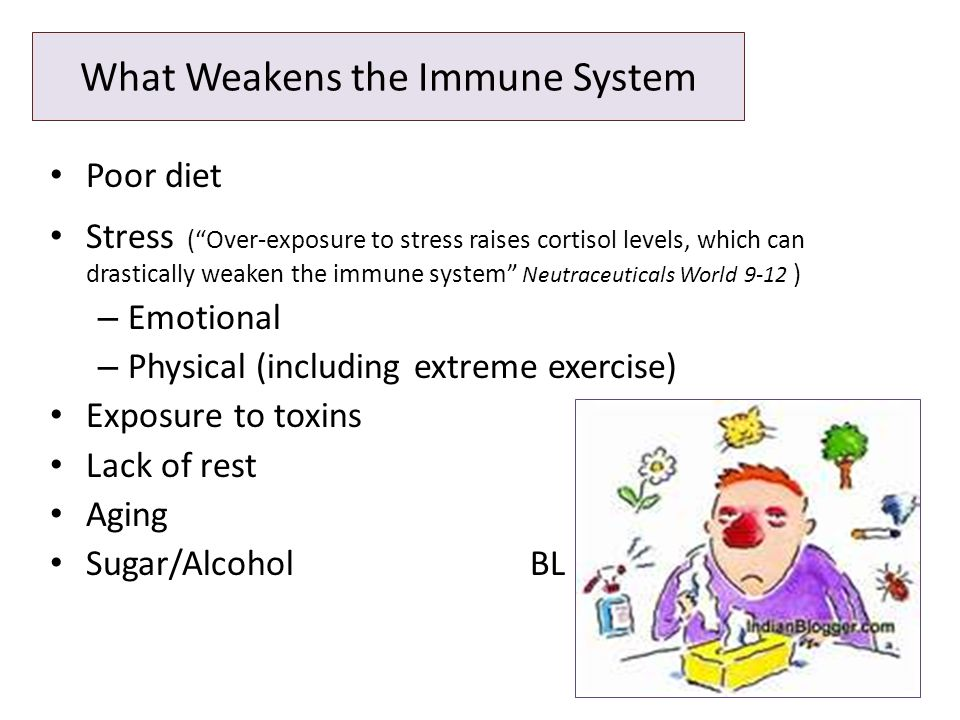 What Weakens the Immune System Poor diet Stress ( Over-exposure to stress raises cortisol levels, which can drastically weaken the immune system Neutraceuticals World 9-12 ) – Emotional – Physical (including extreme exercise) Exposure to toxins Lack of rest Aging Sugar/AlcoholBL