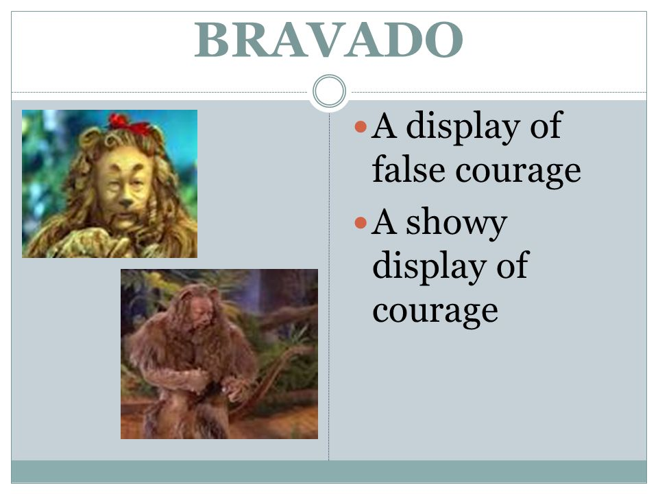 BRAVADO A display of false courage A showy display of courage