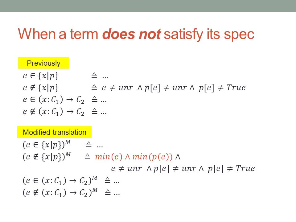 When a term does not satisfy its spec Previously Modified translation