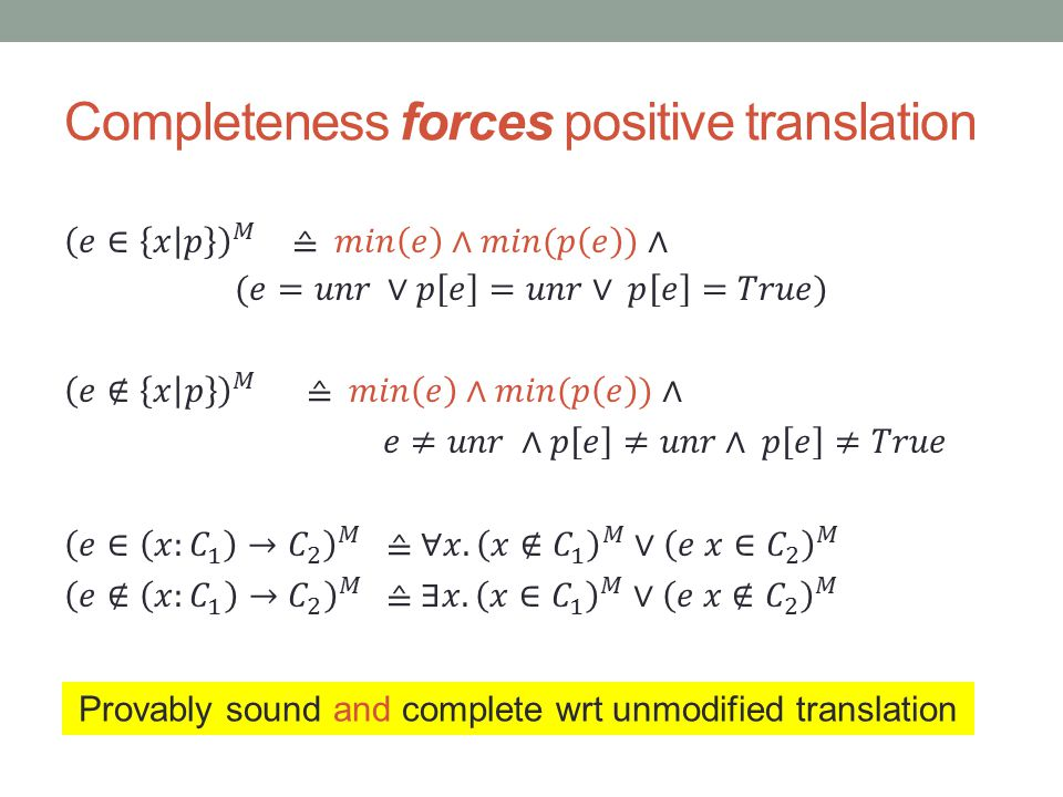 Completeness forces positive translation Provably sound and complete wrt unmodified translation