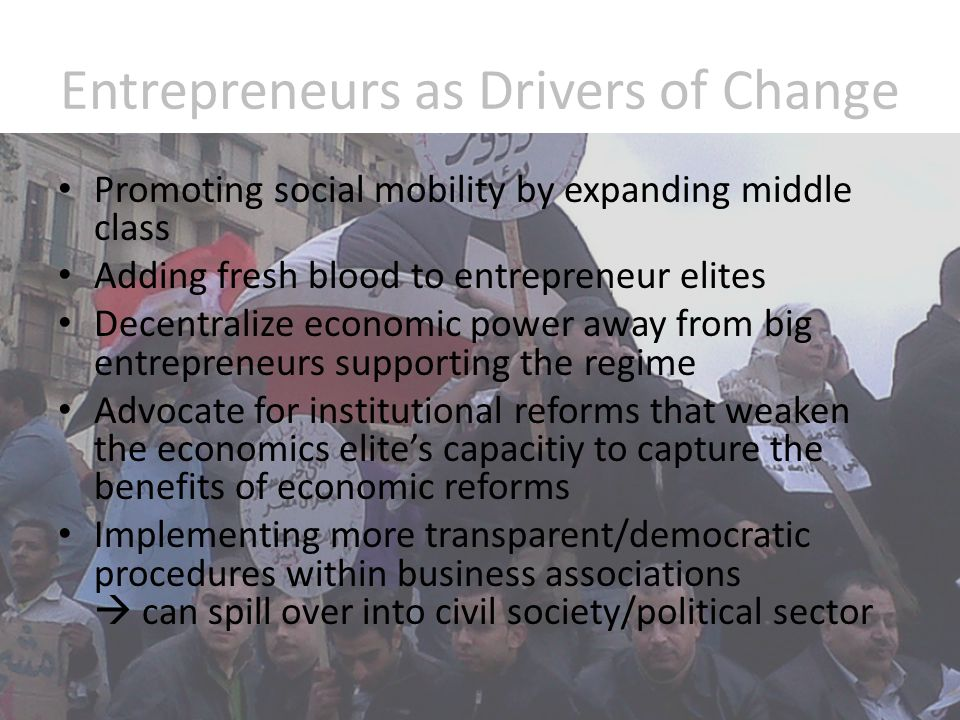 Linkage between Entrepreneurship and other Drivers of Change