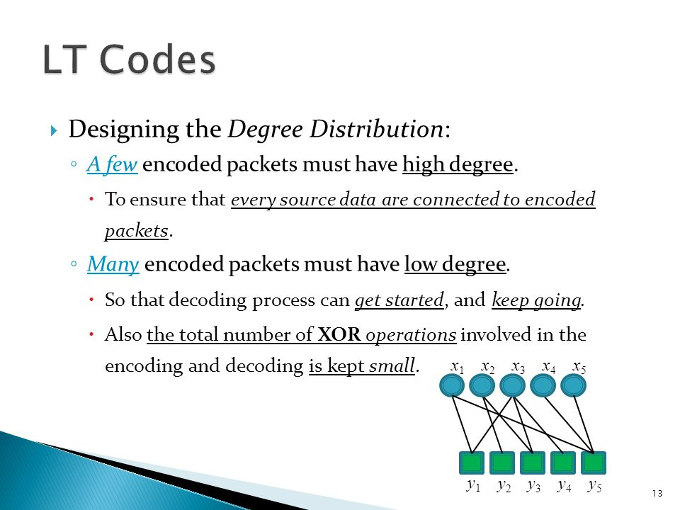  Designing the Degree Distribution: ◦ A few encoded packets must have high degree.