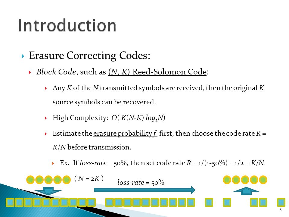  Erasure Correcting Codes:  Block Code, such as (N, K) Reed-Solomon Code:  Any K of the N transmitted symbols are received, then the original K source symbols can be recovered.