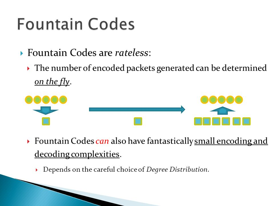  Fountain Codes are rateless:  The number of encoded packets generated can be determined on the fly.