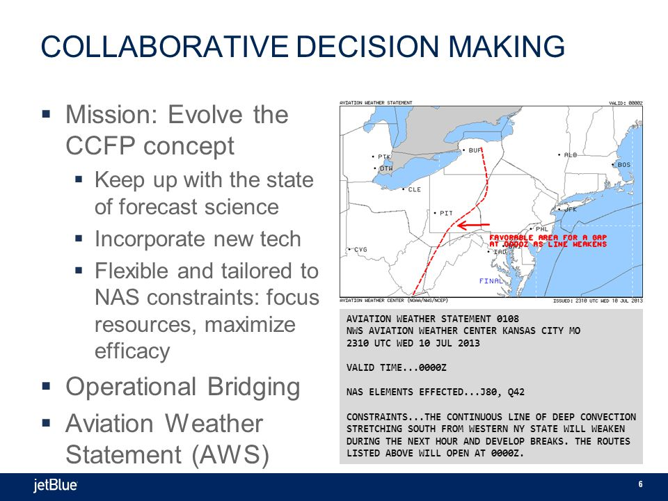 6 COLLABORATIVE DECISION MAKING  Mission: Evolve the CCFP concept  Keep up with the state of forecast science  Incorporate new tech  Flexible and tailored to NAS constraints: focus resources, maximize efficacy  Operational Bridging  Aviation Weather Statement (AWS) AVIATION WEATHER STATEMENT 0108 NWS AVIATION WEATHER CENTER KANSAS CITY MO 2310 UTC WED 10 JUL 2013 VALID TIME...0000Z NAS ELEMENTS EFFECTED...J80, Q42 CONSTRAINTS...THE CONTINUOUS LINE OF DEEP CONVECTION STRETCHING SOUTH FROM WESTERN NY STATE WILL WEAKEN DURING THE NEXT HOUR AND DEVELOP BREAKS.