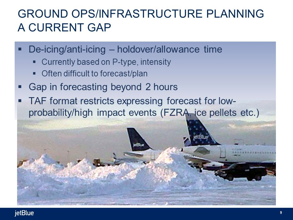 9 GROUND OPS/INFRASTRUCTURE PLANNING A CURRENT GAP  De-icing/anti-icing – holdover/allowance time  Currently based on P-type, intensity  Often difficult to forecast/plan  Gap in forecasting beyond 2 hours  TAF format restricts expressing forecast for low- probability/high impact events (FZRA, ice pellets etc.)