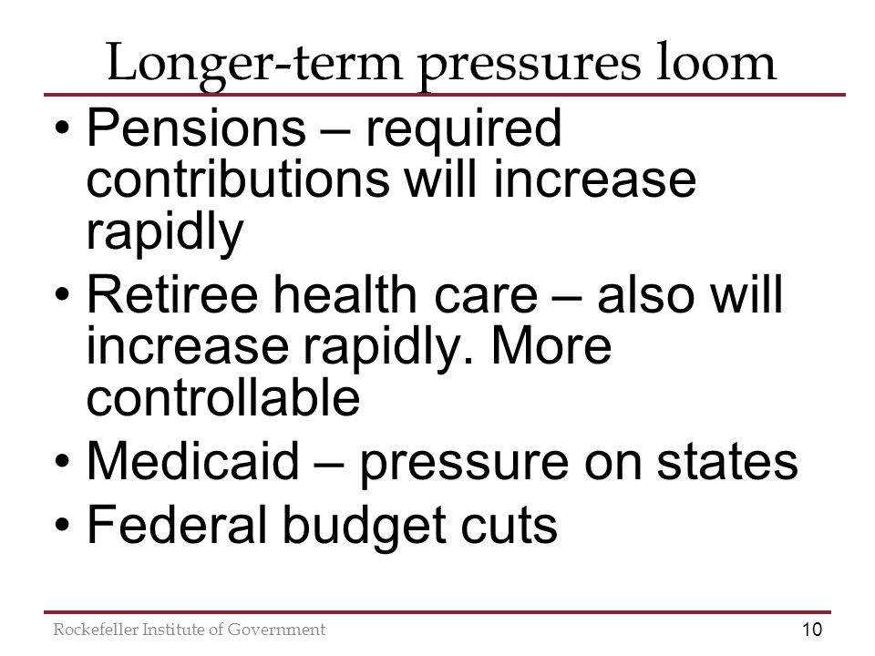 10 Rockefeller Institute of Government Longer-term pressures loom Pensions – required contributions will increase rapidly Retiree health care – also will increase rapidly.