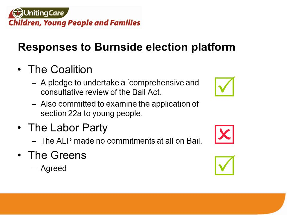 Responses to Burnside election platform The Coalition –A pledge to undertake a 'comprehensive and consultative review of the Bail Act.