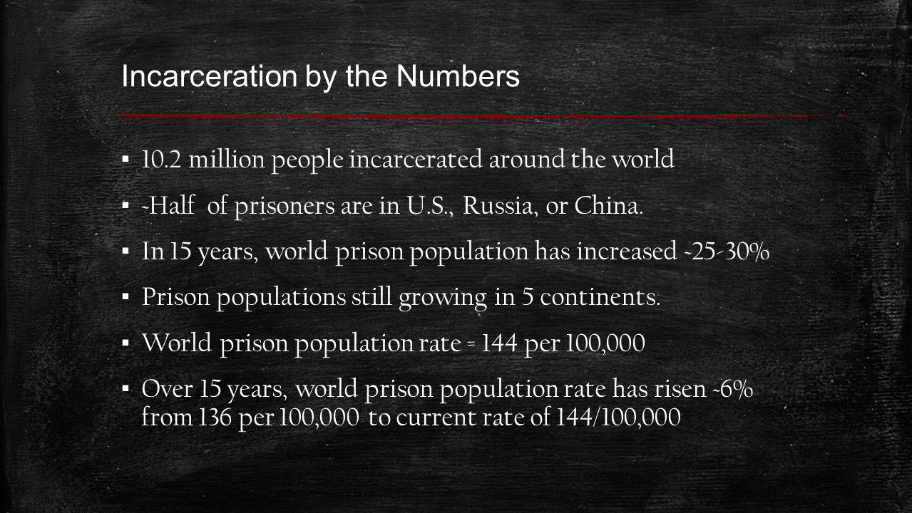 Incarceration by the Numbers U.S.holds 1 in 4 of all prisoners in the world.