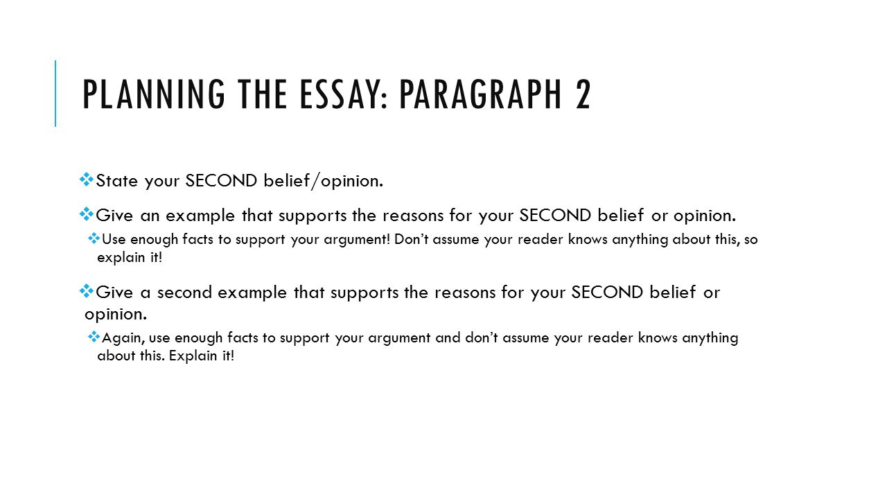 PLANNING THE ESSAY: PARAGRAPH 2  State your SECOND belief/opinion.
