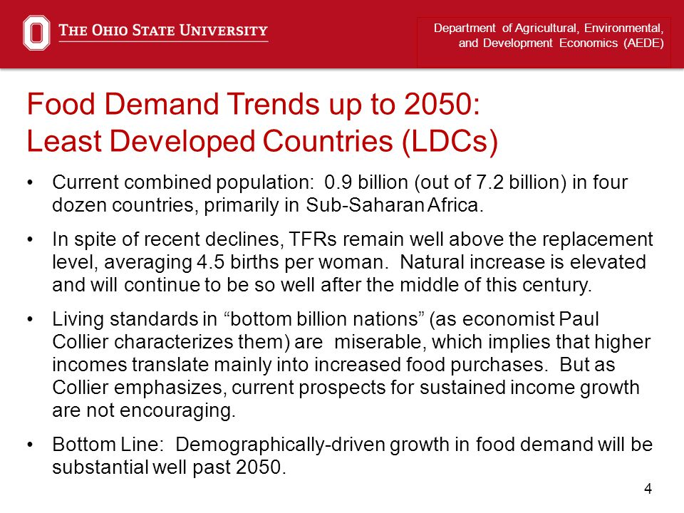 4 Food Demand Trends up to 2050: Least Developed Countries (LDCs) Current combined population: 0.9 billion (out of 7.2 billion) in four dozen countrie