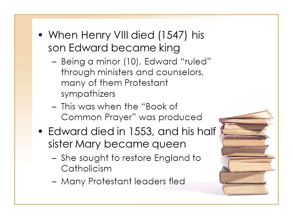 While in exile, many of these leaders discovered a purer form of Protestantism Thus Puritanism was born And during this time the Geneva Bible was produced When Mary died in 1558, and Elizabeth ascended the throne, many of these exiles came back to England, bringing their Geneva Bibles with them The conflict between the Church of England and the Geneva Bible led to the Bishop's Bible