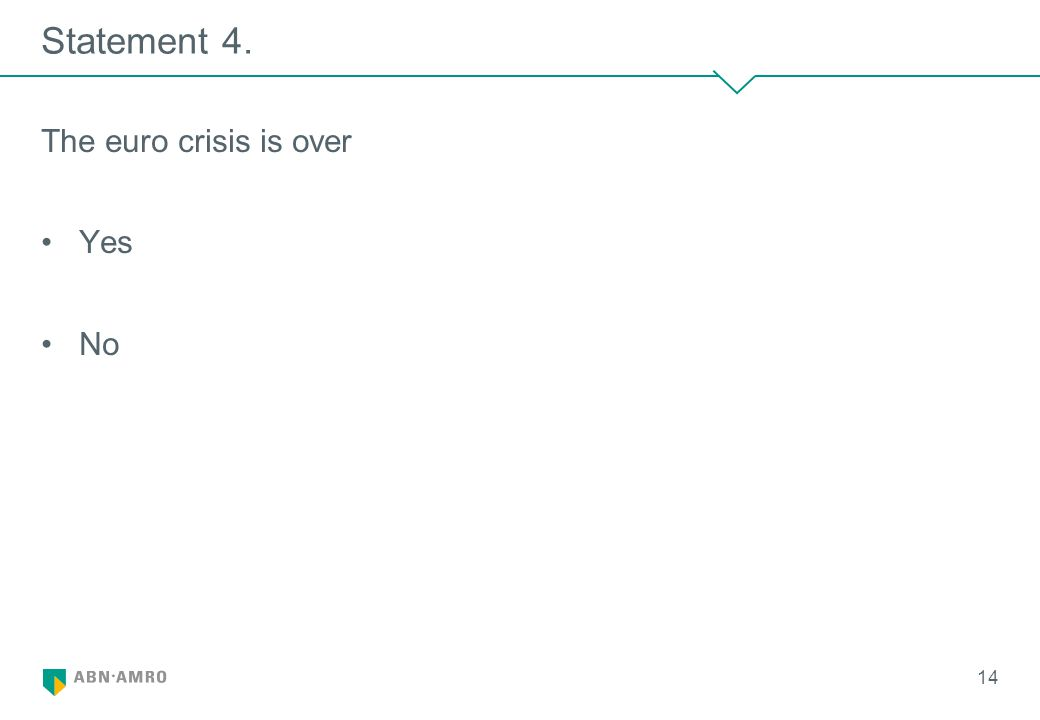 Statement 4. The euro crisis is over Yes No 14
