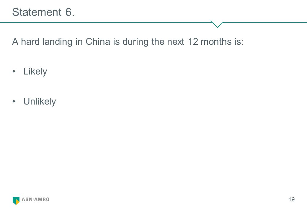 Statement 6. A hard landing in China is during the next 12 months is: Likely Unlikely 19
