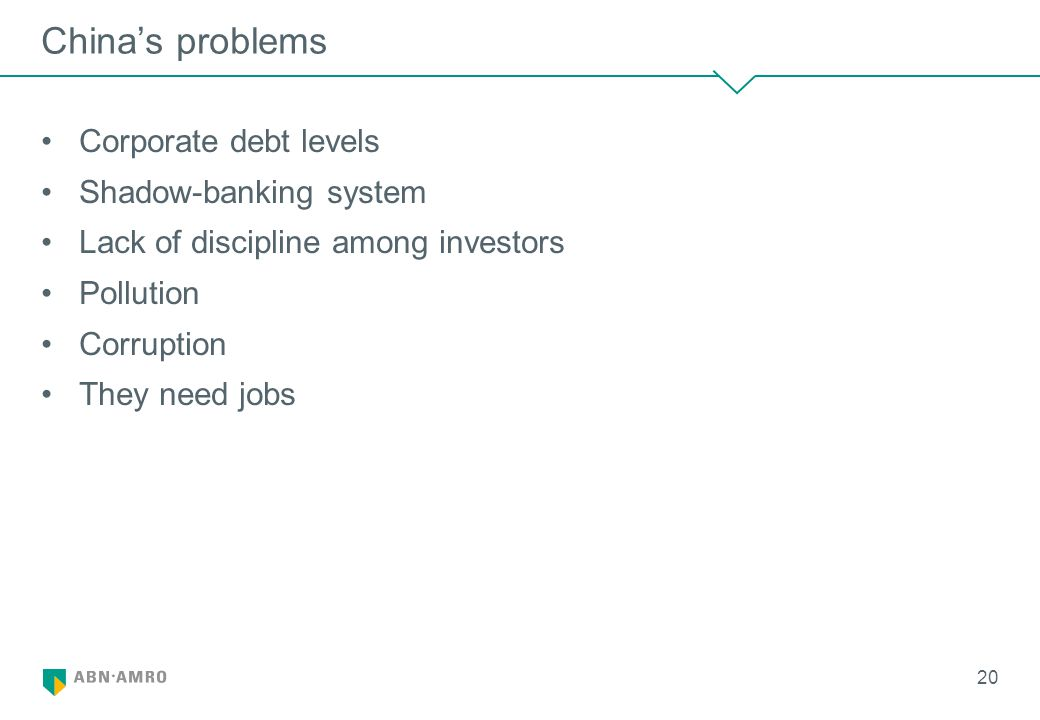 China's problems Corporate debt levels Shadow-banking system Lack of discipline among investors Pollution Corruption They need jobs 20