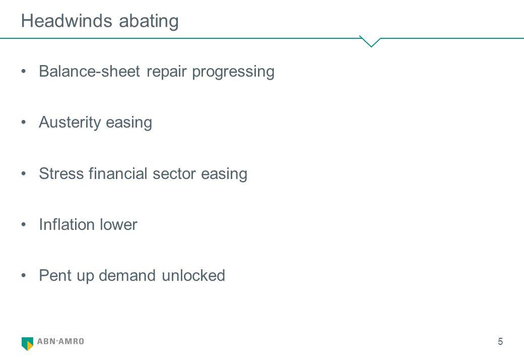 Headwinds abating Balance-sheet repair progressing Austerity easing Stress financial sector easing Inflation lower Pent up demand unlocked 5