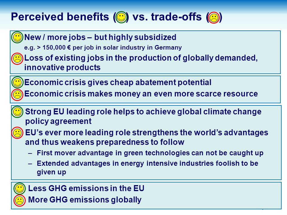 4 Impact of - 30% EU reduction target on GDP compared to current – 20 % target EU climate change policy may weaken EU MS while in parallel huge financial support is paid to prevent state bankruptcy No further unconditional reduction targets.