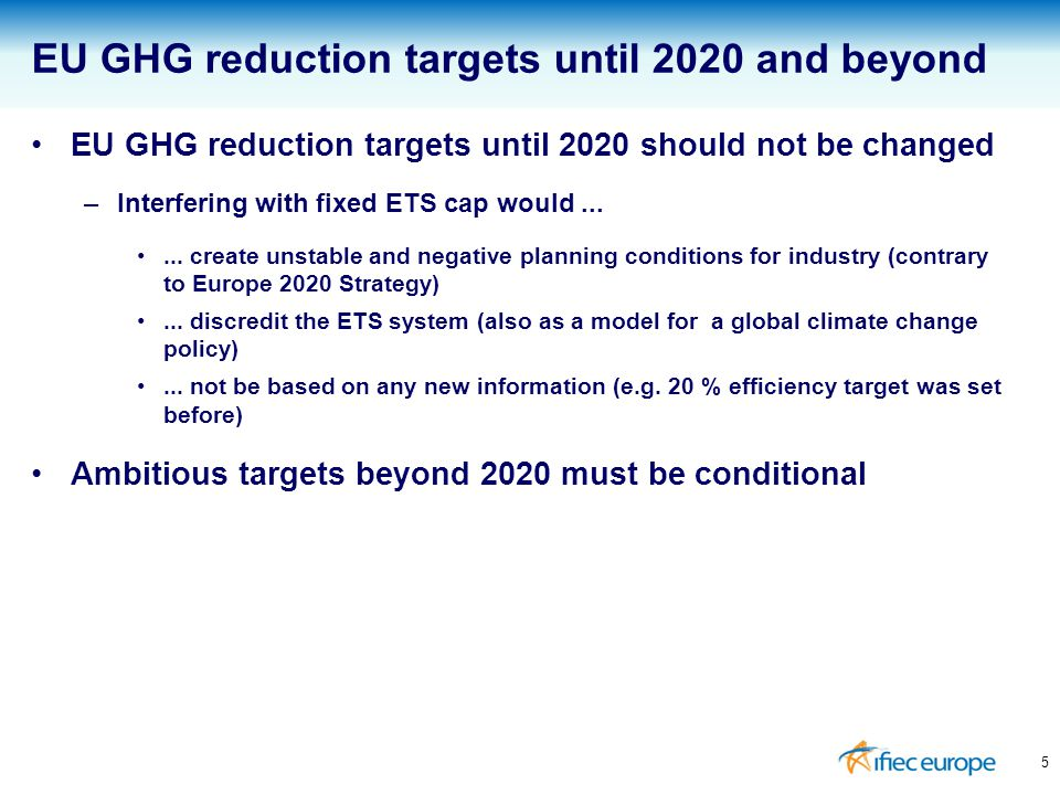 5 EU GHG reduction targets until 2020 and beyond EU GHG reduction targets until 2020 should not be changed –Interfering with fixed ETS cap would......