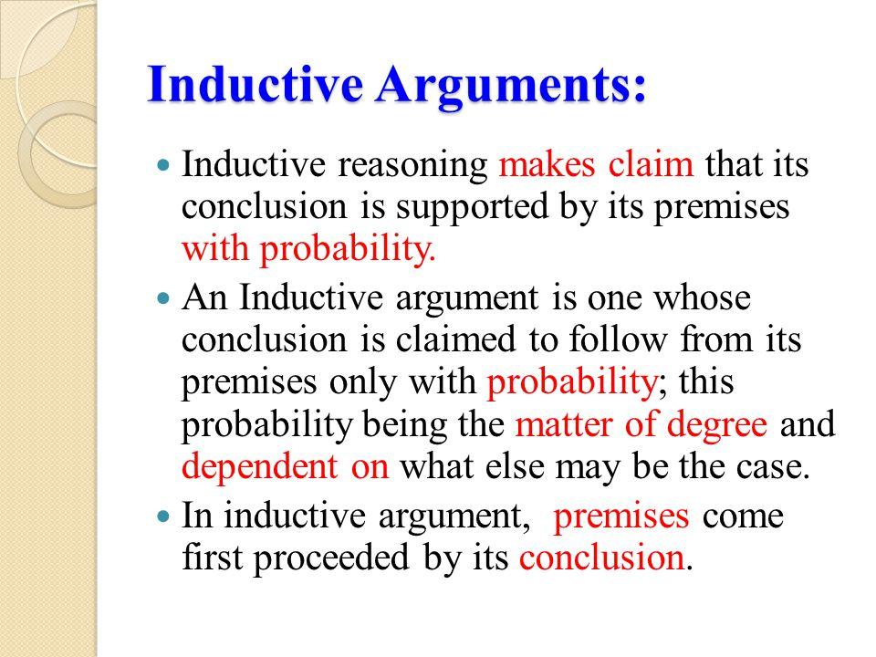 Contd… Inductive argument is undertaken in empirical investigations.