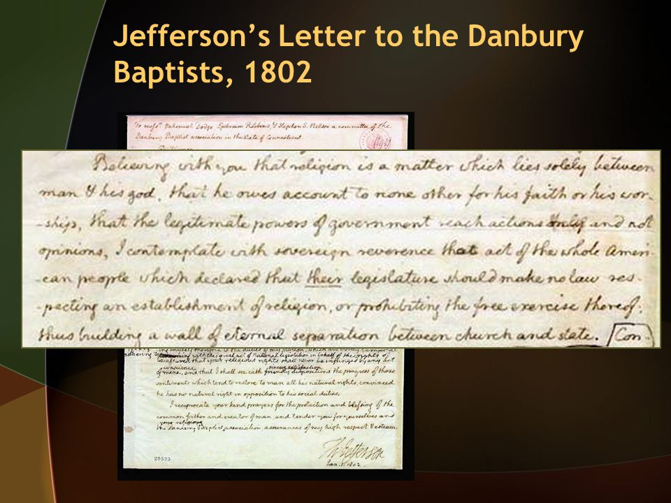 Jefferson's Letter to the Danbury Baptists, 1802
