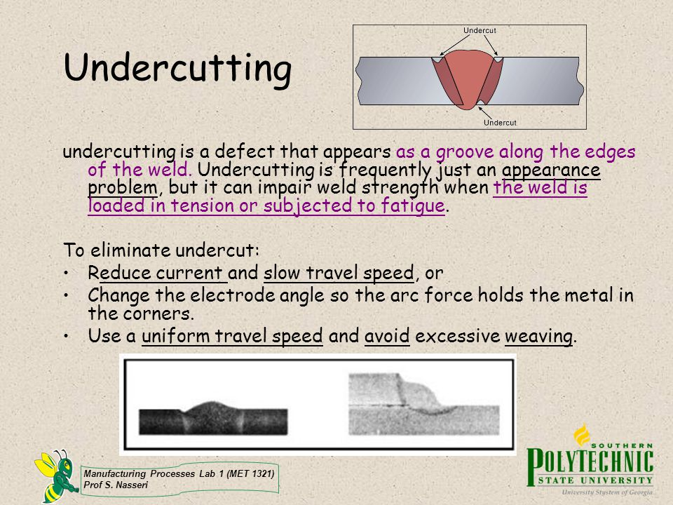 Manufacturing Processes Lab 1 (MET 1321) Prof S. Nasseri Undercutting undercutting is a defect that appears as a groove along the edges of the weld. U