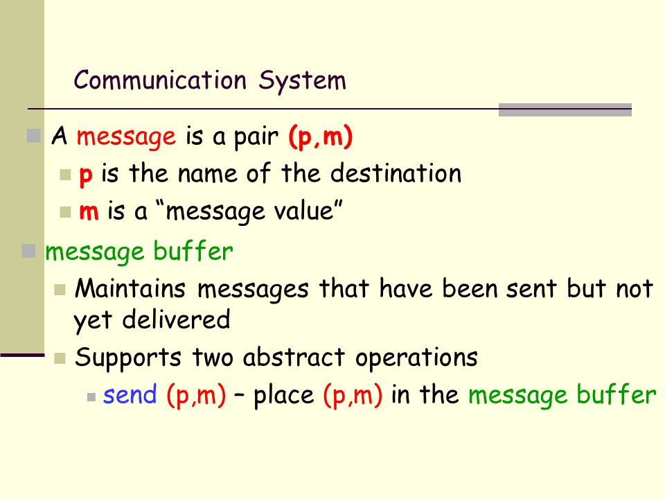 Communication System A message is a pair (p,m) p is the name of the destination m is a message value message buffer Maintains messages that have been sent but not yet delivered Supports two abstract operations send (p,m) – place (p,m) in the message buffer