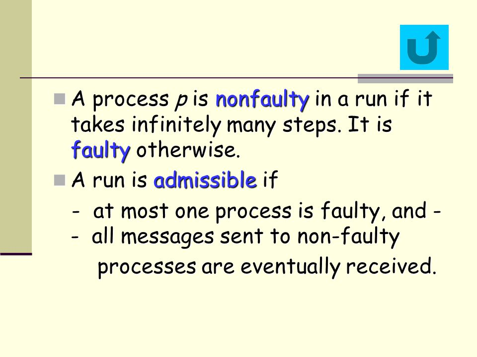 A process p is nonfaulty in a run if it takes infinitely many steps.