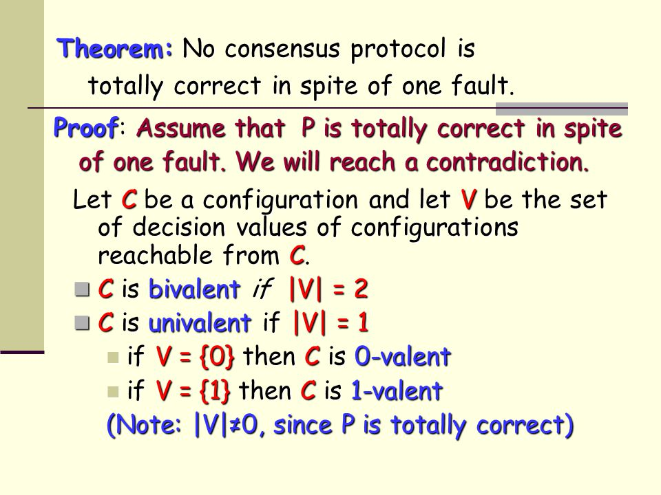 Let C be a configuration and let V be the set of decision values of configurations reachable from C.