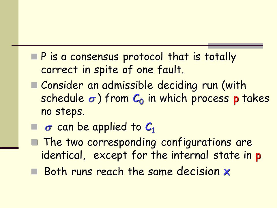 P is a consensus protocol that is totally correct in spite of one fault.