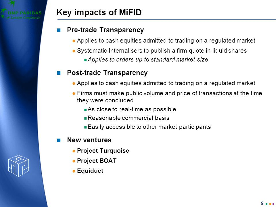 London Compliance 10 Key impacts of MiFID Suitability: New requirements to assess suitability or appropriateness of products for clients in certain cases.