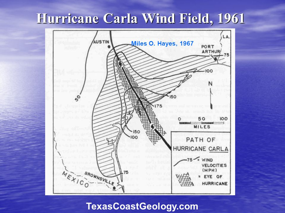 Hurricane Carla Wind Field, 1961 Miles O. Hayes, 1967 TexasCoastGeology.com