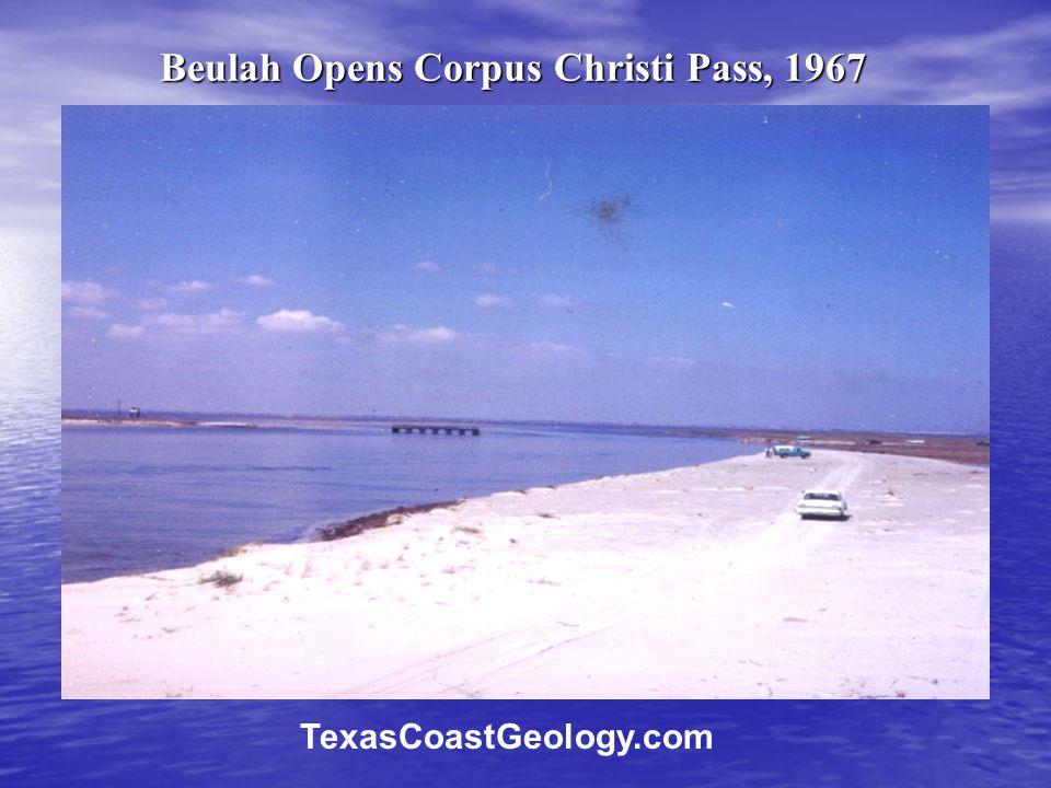 Beulah Opens Corpus Christi Pass, 1967 TexasCoastGeology.com
