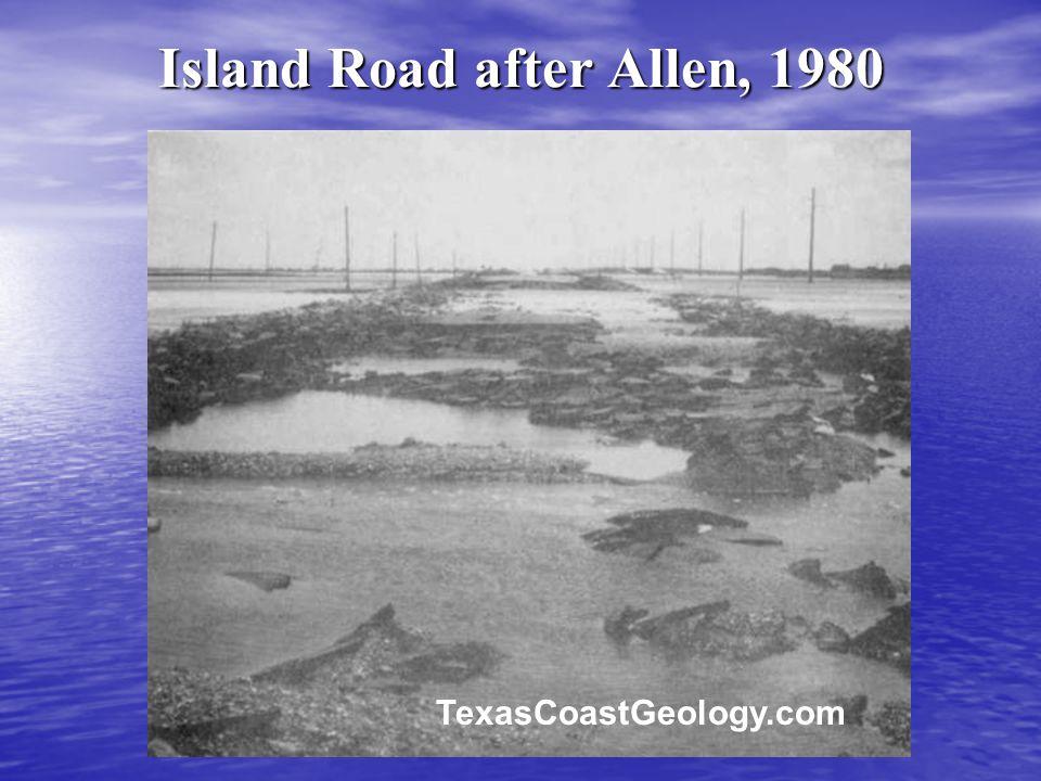 Island Road after Allen, 1980 TexasCoastGeology.com