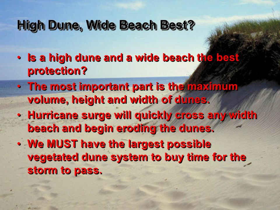 High Dune, Wide Beach Best. Is a high dune and a wide beach the best protection.