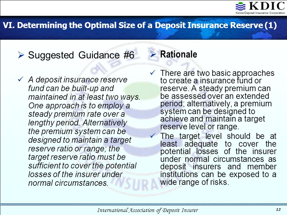 International Association of Deposit Insurer 12 VI. Determining the Optimal Size of a Deposit Insurance Reserve (1)  Suggested Guidance #6 A deposit