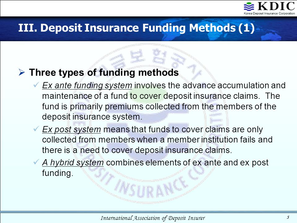 International Association of Deposit Insurer 5 III. Deposit Insurance Funding Methods (1)  Three types of funding methods Ex ante funding system invo