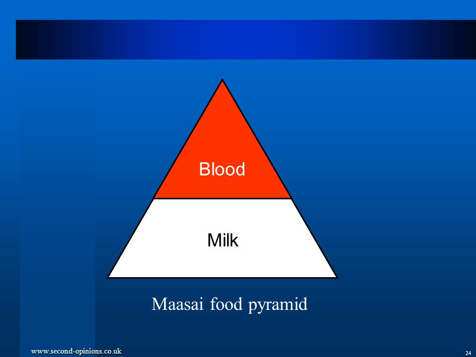 www.second-opinions.co.uk 24 Blood Maasai food pyramid Milk