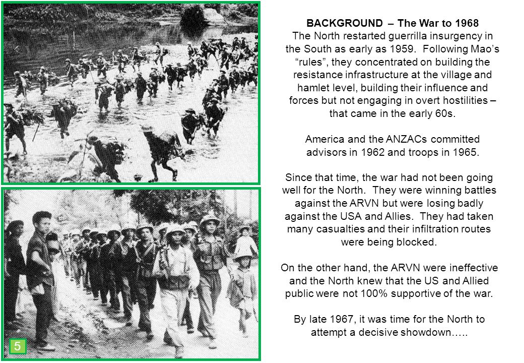THIS SLIDE AND PRESENTATION WAS PREPARED BY DAVE SABBEN WHO RETAINS COPYRIGHT © ON CREATIVE CONTENT BACKGROUND – The War to 1968 The North restarted guerrilla insurgency in the South as early as 1959.