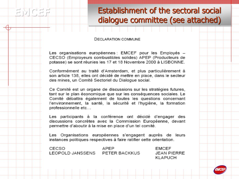 Establishment of the sectoral social dialogue committee (see attached)