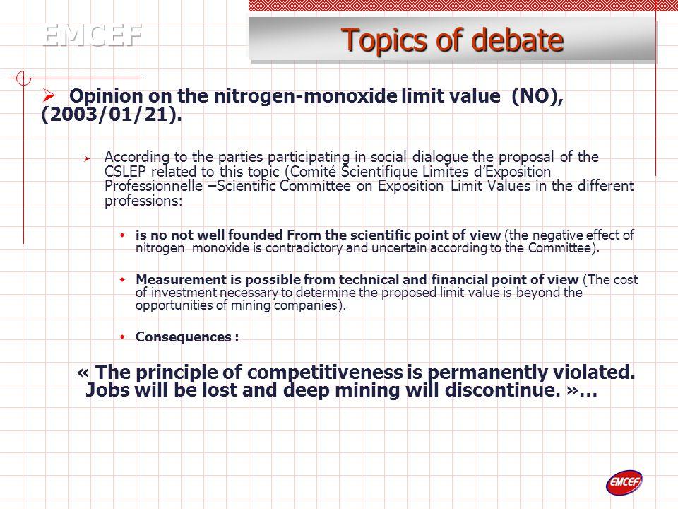 Topics of debate  Opinion on the nitrogen-monoxide limit value (NO), (2003/01/21).