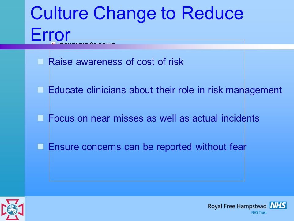 Culture Change to Reduce Error Raise awareness of cost of risk Educate clinicians about their role in risk management Focus on near misses as well as actual incidents Ensure concerns can be reported without fear