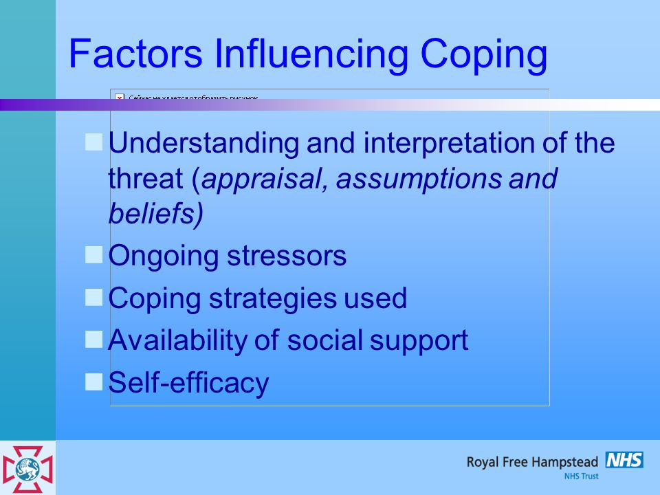 Factors Influencing Coping Understanding and interpretation of the threat (appraisal, assumptions and beliefs) Ongoing stressors Coping strategies used Availability of social support Self-efficacy
