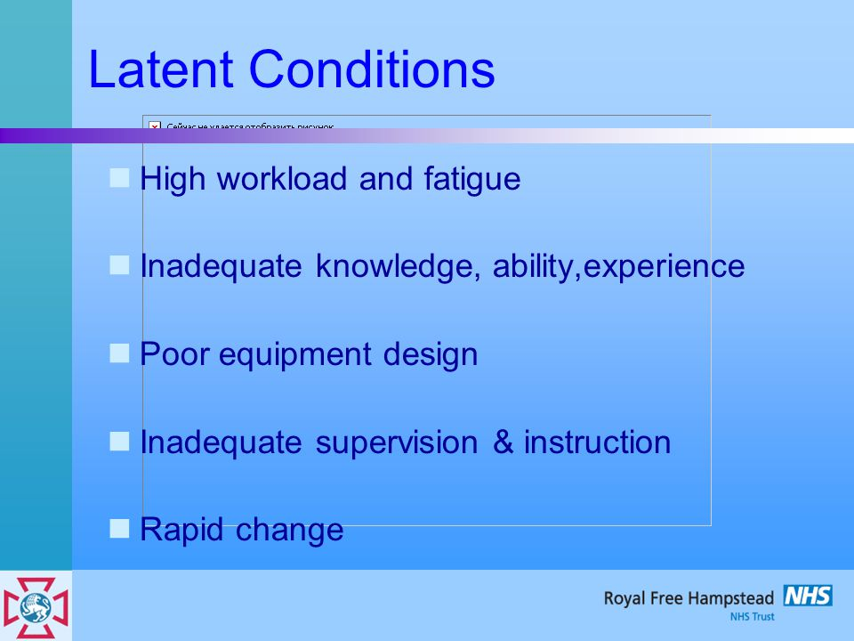 Latent Conditions High workload and fatigue Inadequate knowledge, ability,experience Poor equipment design Inadequate supervision & instruction Rapid change