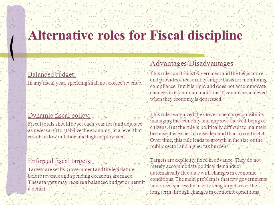 Advantages/Disadvantages Balanced budget: In any fiscal year, spending shall not exceed revenue.